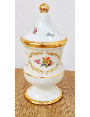 Keramos potiche piccola in limoge con fiori e decorazioni in oro fatti a mano, h 19 cm Ø 9 cm.