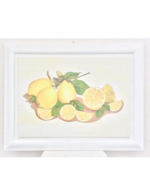 Framework with lemons on canvas and frame in white wood. h 68.4 x 88.5 width.