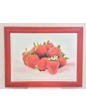 Framework with strawberries on canvas and wood frame in red h 68.4 x 88.5 wide