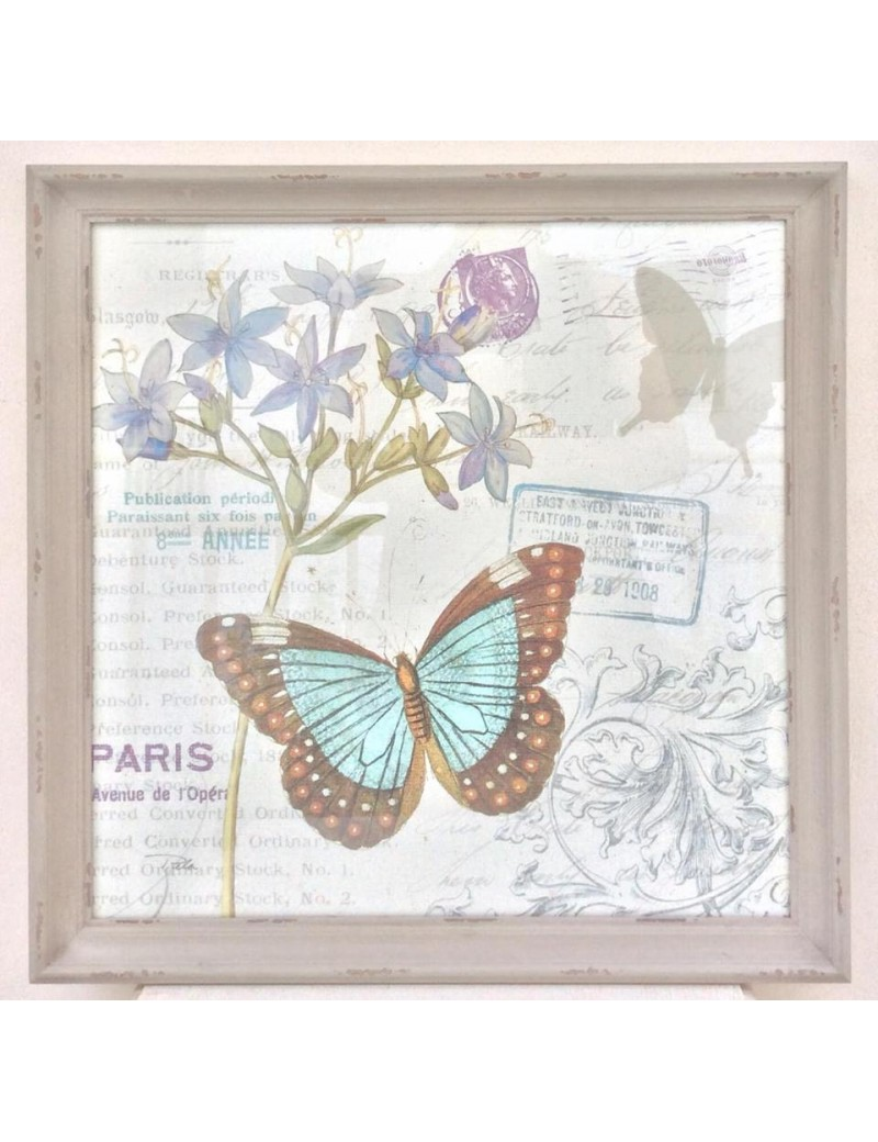 Quadro shabby chic con farfalla e fiori con stampa for Quadro shabby