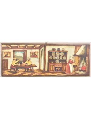 Quadro da cucina in legno  dipinto a mano Arte nuova forma H 29,5 x L 80.