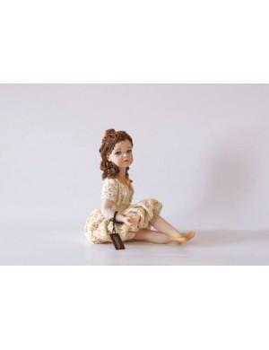 Sibania Lorella  figura in porcellana ragazza con gonna a palloncino  collezione printemps
