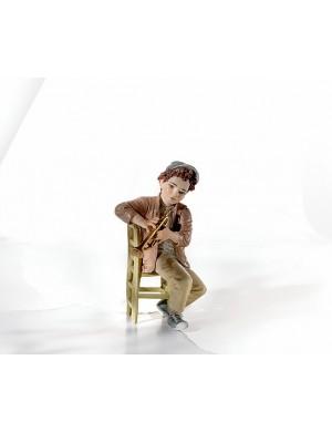 Sibania Davis figura in porcellana ragazzo seduto con tromba collezione sweet-swing band