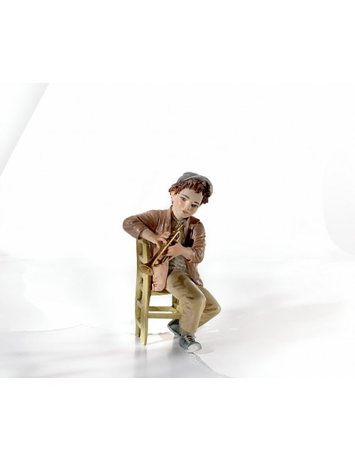 Sibania Davis porcelain figure boy sitting with trumpet sweet-swing band collection