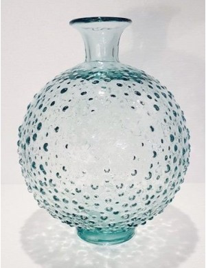 Vase transparent blue puffer handmade Murano Enzo De Gasperi