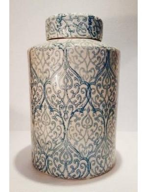 Vaso potiche in porcellana bianco con lavorazioni azzurri