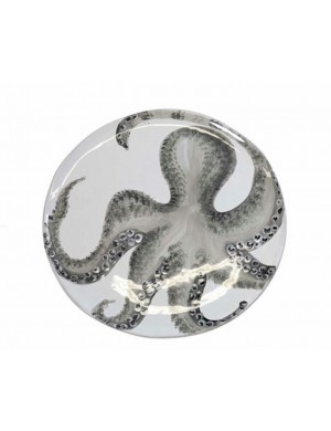 Round tray with navy line octopus Virginia casa