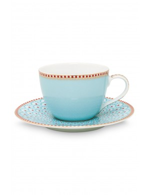 Pip Studio Ribbon Rose Espresso tazzina e piattino -blue