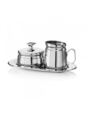 Ottaviani milk and sugar set in silver metal with crystals