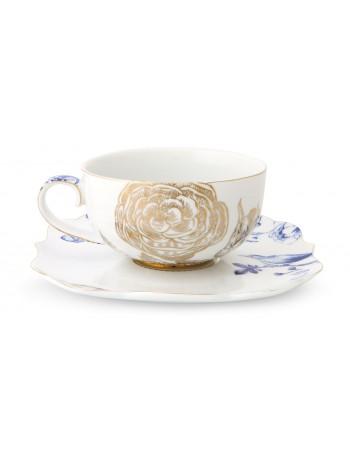 Pip Studio königliche weiße Tasse und Untertasse