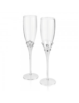 Mr & Miss Ottaviani flutes pair in silver metal with crystals