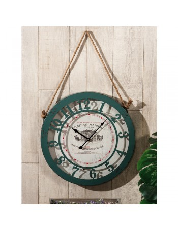 RELOJ DE PARED EN HIERRO, COLOR TIFFANY - CON CUERDA