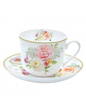 easy life set of two coffee cups with saucer romantic lace