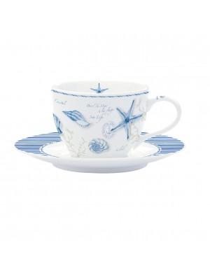 Easy life set 6 tazze caffè con piattino linea mare