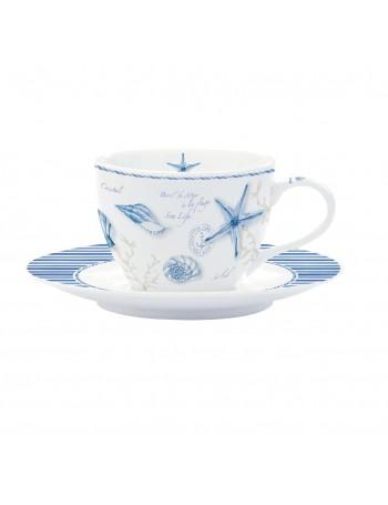 Easy Life set 6 tasses à café avec ligne marine de soucoupe