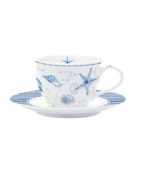 Easy life set 6 coffee cups with saucer sea line