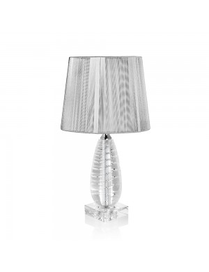 OTTAVIANI CRYSTAL LAMP WITH PLATINUM FABRIC HOOD H 44.5 CM