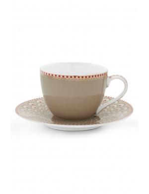 Pip Studio Ribbon Rose Espresso Cup & Saucer - Pink