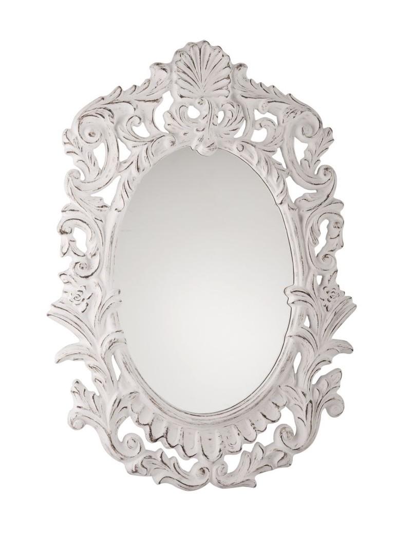 Specchio shabby bianco provenzale maison bel for Specchio shabby