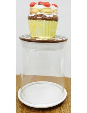 Barattolo in vetro con coperchio in ceramica  ⌀ cm. 11x h. cm. 24