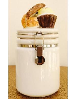 Barattolo in vetro con coperchio in ceramica