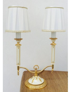ACF objects of art Florence lamp limoge and gold   A2, H 47 cm x L 24 cm
