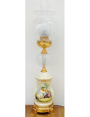 ACF objects of art Florence Lamp limoge and gold with bowl in hand-blown glass painting , H 61 Cm
