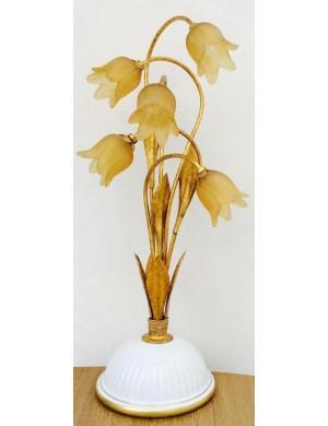 Campostrini & Trallori Lampada con tulipani giallo oro, steli e fioglia oro e base in porcellana bianca, H 58 Cm.