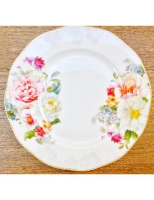 vida fácil porcelana fondo plano romántico de encaje 21,5 cm