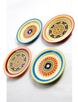 Brandani Saucer dessert mexico 4 pcs set in ironstone ⌀22 cm