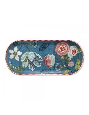Pip Studio Vassoio Torta rettangolare Spring to Life Blue- 34 cm