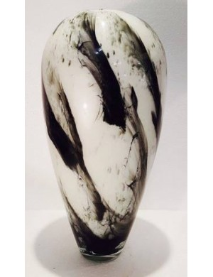 Vase marbled black and white Michelotto