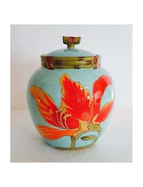 Jar with blue flower with airtight certified gift
