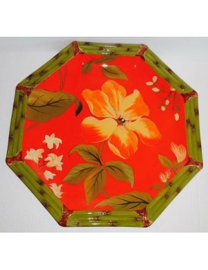 Centerpiece / red octagonal tray with flower and green board certified gift