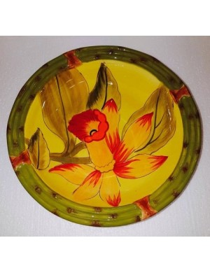 Soup plate in yellow ceramic green outline with flower