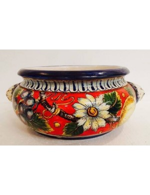 Table center-door round flowers in red and blue ceramic with daisies and fruits