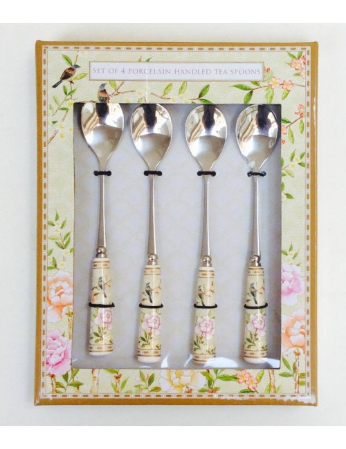 Easy life palace garden set 4 teaspoons with porcelain handle