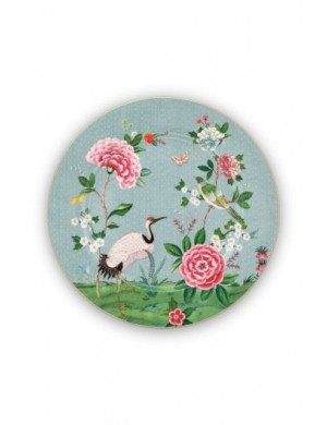 Blue serving plate with exotic bird flowers and golden Blushing Birds details